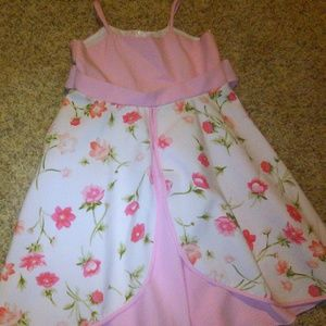 White & Pink flower girl dress
